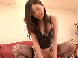 Yui Tatsumi the sexy honey in fishnets rails a dick