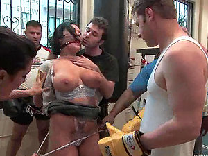 Claire Dames gets fucked by a few boys in a gym and likes it