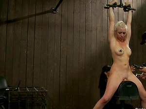 Clothespin Torment while Sitting on Sybian saddle after Facehole Fucking