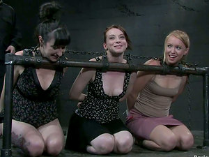 Three nasty ladies get penalized severely in a basement