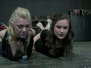 Two sexy damsels are getting blinded and tormented