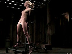 Uber-cute blonde dame with a hook in her booty gets tied up