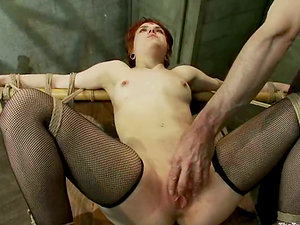 Red-haired Juliette gets tied up and pounded in her vagina