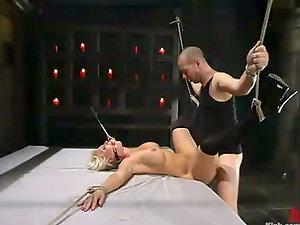 Frolicking and Fucking Hot Blonde Devon Lee in Restrain bondage Fuck Session