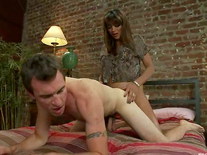 Dietrich Cyrus lets sexy shemale Yasmin Lee rip his arse apart