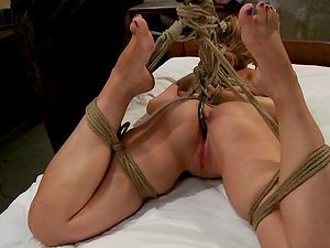 Blonde Audrey Rose is Stringing up From the Ceiling with Ropes - Sadism & masochism Movie