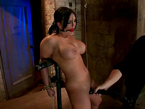 Nip Clips with Weights on Mackenzee Pierce while Toyed