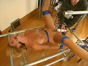 Frogtie and device restrain bondage with a sassy bitch Goldie