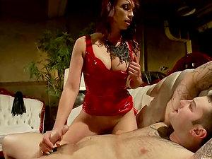 Man Gets Oral job from Nicki Hunter after Pegging Female domination Session