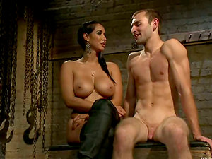 Buxom Isis Love Playing with Dude in Restrain bondage and Pegging Female dom Vid