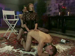 Lots of Strapon Act and Pegging in Restrain bondage Female domination Threesome