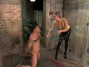 Maitresse Madeline Hot Blonde Gets Beaver Eaten after Strapon Fuckng a Dude