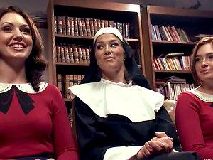 Sexy nun predominates two sexy honies in school uniform