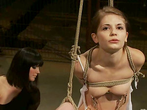 Bobbi Starr rips Sensi Pearl's snatch apart with a strap on