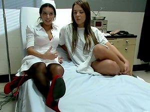 Hard-core Bondage & discipline passion in the hospital with two honies