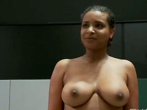 Black damsel loses a fight and gets toyed with a strap dildo