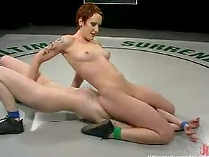 Two ginger-haired chicks have wild fuck-a-thon using strap dildo in a ring