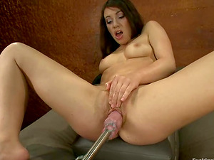 Tiffany Doll gets numerous orgasms while playing with a fucking machine