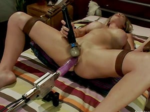 Brittany bell Rails Sybian saddle after Being Fucked by Machine and Fucktoys Her Twat