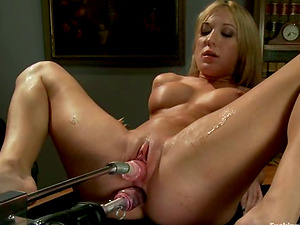 Hot Amy Brooke gets toyed in both crevasses by a machine