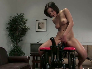Numerous Orgasms for Dark haired Ruby Knox Fucked by Many Machines
