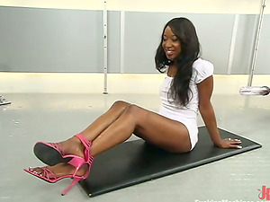 Stacey Cash gets her hairy black labia smashed by a fuck-a-thon machine