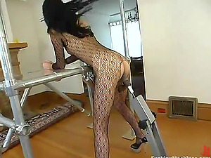 Sabrina gets a excellent orgasm while leaping on a hook-up machine