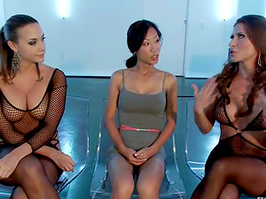 Girly-girl Bondage & discipline Threesome with Assfuck Playing and Vagina Torment for Tia Ling