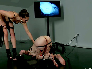 Crazy Handballing in G/g Female domination Flick for Tormented Red-haired Chick
