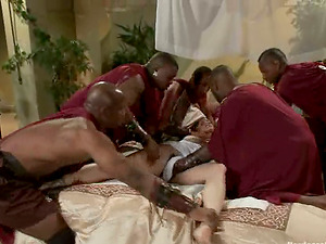 Interracial Gang-fuck for Bella Rossi with Double penetration From Big Black Schlongs