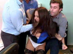 Horny Dudes Gang-fuck Taunting Big-titted Fuckslut Ava Addams in the Office