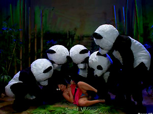 Sexy brown-haired stunner gets group-fucked by panda mascots