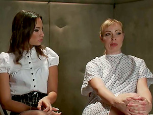 Adrianna Nicole and Amber Rayne have fun g/g Domination & submission games in a basement
