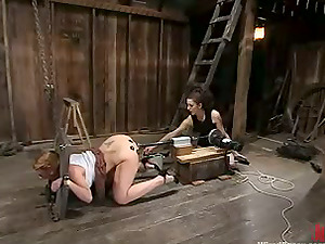 Darling gets her snatch toyed by Princess Donna Dolore in Domination & submission clip