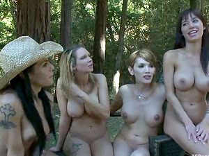 Two Domineering Shemales Outdoors Fucking Two Hot Stunners' Throats and Vaginas