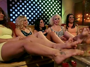 Four Women Playing with a Predominated Girly-girl in Foot worship Group sex