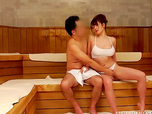 Hard-core group bang-out in the Japanese sauna