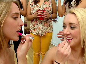 Three Damsels Suck One Dick During Girl-on-girl Orgy with Cunt Eating Joy