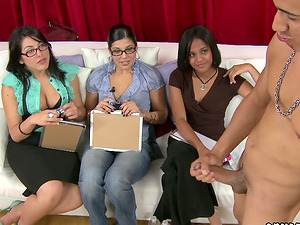 Three Hot Kinky Women Judging the Spectacles of Guys in CFNM Vid