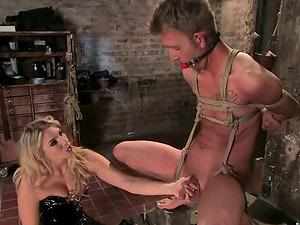 Vulva Eating and Pegging in Female dominance Restrain bondage with Jordan Kingsley