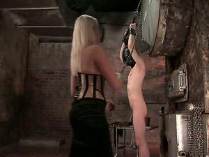 Blonde in Corset Lorelei Lee Spanking and Tantalizing Fellow in Pillory