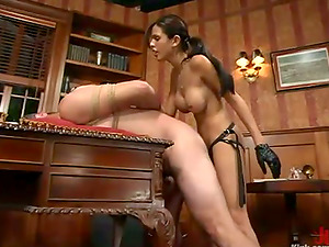 Horny Timid Love ties a man up and playthings his booty in an office