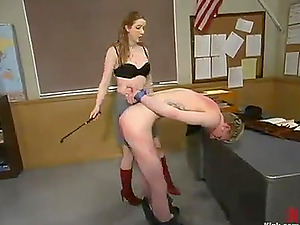 Ian Frost gets penalized by Princess Kali in a classroom