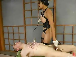 Restrain bondage and Clothespin Torment in Female dom Vid with Mika Suntan