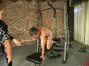 Blonde Domina Abases Fellow in the Gym in Female dom Vid