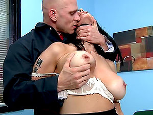 Dark haired Manager Detects Her Employee´s Big Jizz-shotgun