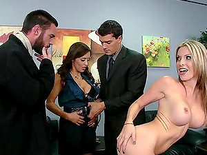 Two Horny Studs Fucking Two Chesty Cocksluts in the Office