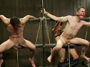 Jason Miller and Van Darkholme test fucking machines in Bondage & discipline clip
