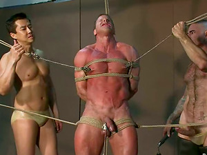 Homo bodybuilders are tormenting this innocents hunk