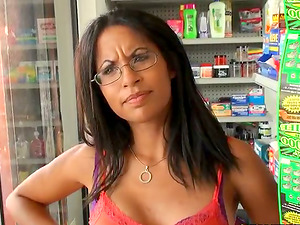 Unexperienced Latina Getting Fucked for Cash with Undies and Glasses On